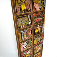 Vintage 1970 Vanguard Studio Carved Zodiac Wall Hanging
