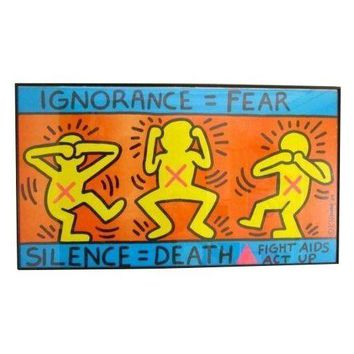 Pre-owned 1989 Keith Haring Fight AIDS Act Up Poster