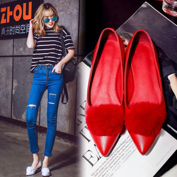 Summer Pointed Toe Leather Rabbit Flat Star Shoes [4919953476]