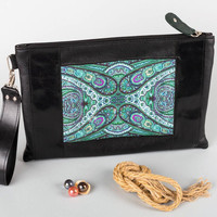 Handmade black clutch stylish bag made of artificial leather unusual accessory