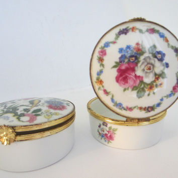 G Labesse Modele Exclusiff Limoges France Porcelain Brass Miniature Boxes