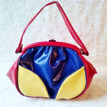Vintage Multi Colored Leather Mod Purse Retro Hand Bag Lucite Closure Satin Lining Med Size Patriotic Colorful Party Estate Accessory