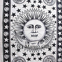 Mango Gifts Indian Sun Hippie Hippy Tapestry Wall Hanging Throw Cotton Bed Cover Bohemian Bed Decor Bed Spread Ethnic Decorative Art Table Cloth 55 X 82 Inches