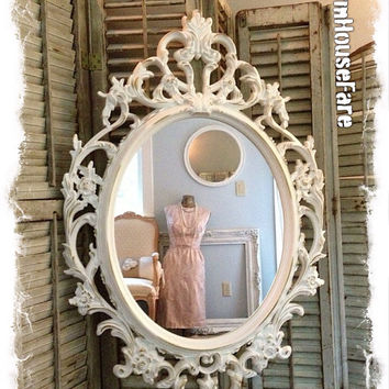 Antique White Frame Open Frame Large Ornate Baroque Shabby Chic Picture Wall Art Vinage Nursery Chalkboard/Mirror