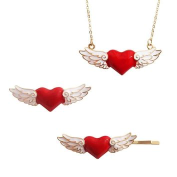 Trendy Red Heart Brooches Angel Wings Enamel Pin for Women Lapel Pins Denim Jacket Corsage Scarf Buckle Women Brooch Badge Q383 AT_94_13