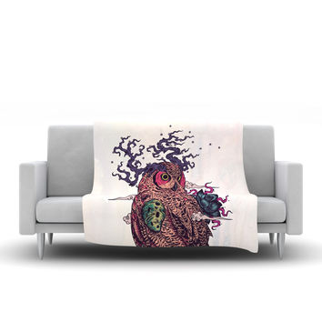 "Mat Miller ""Regrowth"" Natural Owl Fleece Throw Blanket"