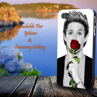 Cute Niall Horan With Rose - Print on hard plastic for iPhone case. Please choose the option.
