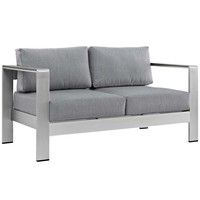 Silver Gray Shore Outdoor Patio Aluminum Loveseat