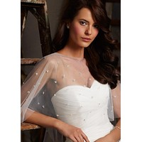 Mori Lee Ivory Beaded Bridal Cape 11010