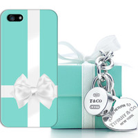 Tiffany & Co Inspired Blue Box x White Ribbon Design Phone Case for iPhone 5 iPhone 5S 5C iPhone 4 iPhone 4S and Samsung Galaxy S5 S4 S3