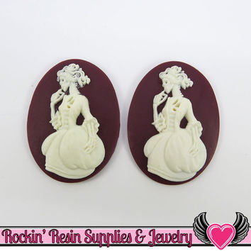 2 pc VICTORIAN ZOMBIE in GOWN Lolita Skeleton Maroon & White Resin Cameos 30x40mm