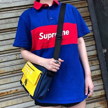 Supreme trend men and women couple color matching POLO shirt T-shirt F-AG-CLWM Blue