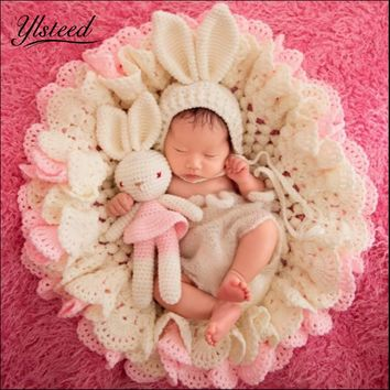 3pcs Set Newborn Photography Blanket Pink Rabbit Photo Props Beanies Hollow Crochet Bear Hats Knitted Blanket Baby Photo Shoot