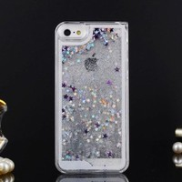 Angelia 2014 Fashion Sand Quicksand Bling Glitter Hard Case Cover for Iphone 4 4s Transparent Funny Case Liquid Cover