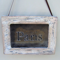 New! Paris Sign Weathered Rustic Vintage Style Antiqued Mirror Shabby Chic French Country Cottage Distressed Chippy