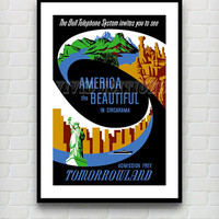 Vintage Tomorrowland America the Beautiful Disneyland Attraction Poster Reprint -- Not Framed 18x24 - Buy 2 Get 1 Free!