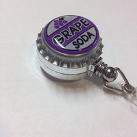 Grape Soda Bottlecap Retractable ID Badge Holder/Reel. Disney Pixar Up Ellie Badge