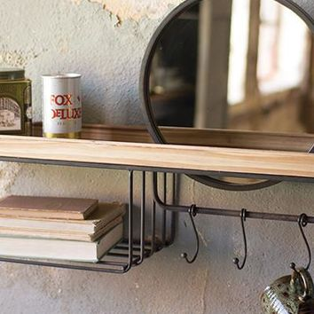 Wooden Shelf With Wire Basket Hooks & Mirror