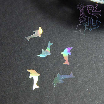 Holographic Dolphins Glitter, nail art, UV resin, nail gel, acrylic nail, nail polish glitter, nail stamping