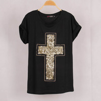 Women Cross Sequined T shirt Tops