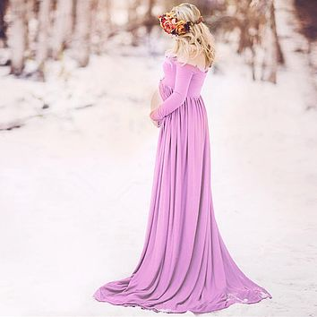 Puseky Maternity Dress for Photo Shoot Maxi Maternity Gown Split Front Chiffon Fancy Women Maternity Photography Props