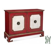 Bassett Mirror A2257EC Hollywood Glam Oneida Steward's Cabinet in Chinese Red