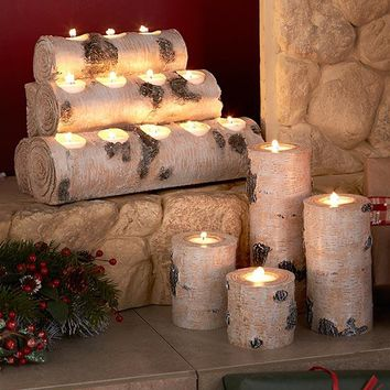Woodland Tea Light Ceramic Candleholders. Set of 4 Holders or Stack of Wood Holding 12 Lights