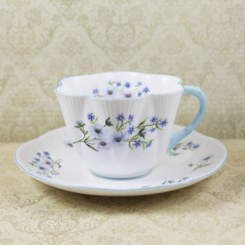 Vintage Shelley Blue Rock Pattern #13591 Tea Cup and Saucer Set