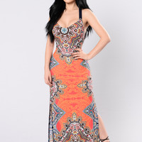 Sing A Melody Dress - Coral