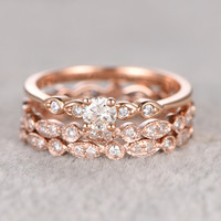 5mm Round Moissanite Wedding Set Diamond Bridal Ring 14k Rose Gold Retro Full Eternity Marquise Matching Band