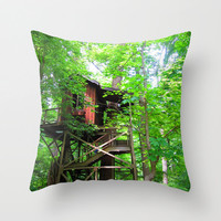 Treehouse Pillow, Forest Pillow,Tree Pillow, Wanderlust Pillow, Adventure Pillow, Zen Decor, House Pillow, Nature Home Decor 16X16 18X18