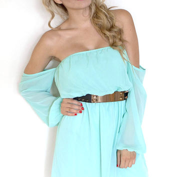 Sweet Off The Shoulder Chiffon Dress (more colors) - FINAL SALE