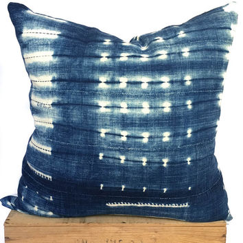 "24"" Inch Vintage Indigo African Mud Cloth Pillow Cover"