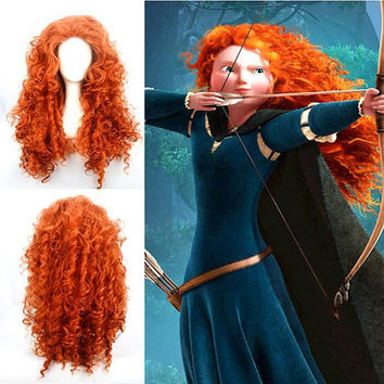 Perucas Cosplay Long Orange Curly Brave-Merida Wig,Colorful Candy Colored synthetic Hair Extension Hair piece 1pcs WIG-342B