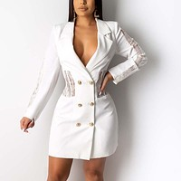 White Lace Splice Blazer Dress