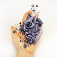 Hair Accessories Silk Chiffon flowers Textile Hair piece Roses Branches Twigs Pearl Crystal Lavender Pale Blue Wedding