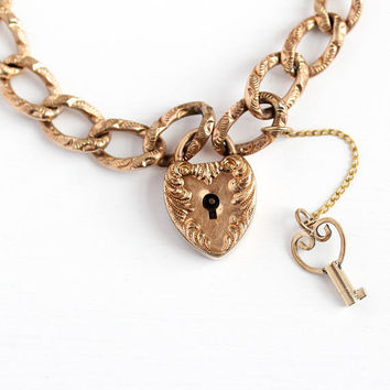 Antique Padlock Bracelet - Rose Gold Filled Victorian Era Heart Charm With Key - Vintage 1900s Repousse Heart Lock Pendant Rare Jewelry