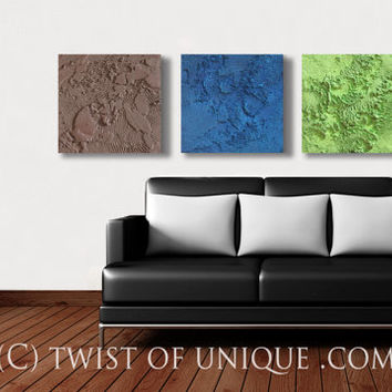 Large Concrete Painting / Large ORIGINAL 3 panel Wall Art/ 15 x 15 (45 x 15 inches) / Textured Abstract painting / Green, brown, blue