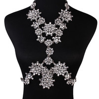 Clear Crystal Floral Body Chain