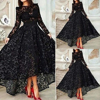 Hot sale lace evening dresses prom dresses formal dress asymmetrical dress high -low vestidos de festa free shipping