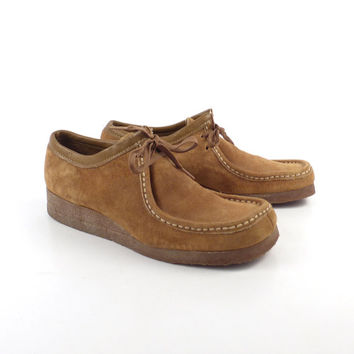 Wallabee Shoes Oxford Wedges Vintage 1980s Lace Up Suede Leather