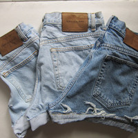 All Sizes Custom Order : 1 x Vintage High Waisted Calvin Klein cuffed cut off Oversized Slouch Boyfriend denim jean shorts