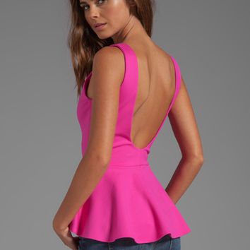 Amanda Uprichard Peplum Top in Hot Pink from REVOLVEclothing.com