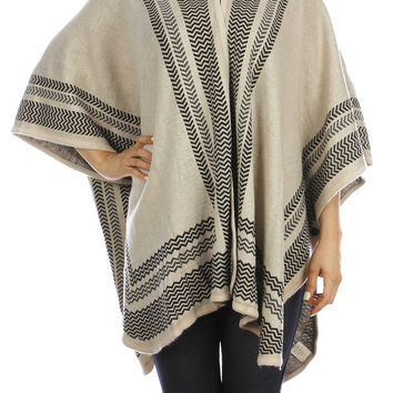 Ivory Hooded Cape Poncho