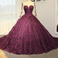 Luxury long train purple wedding dress