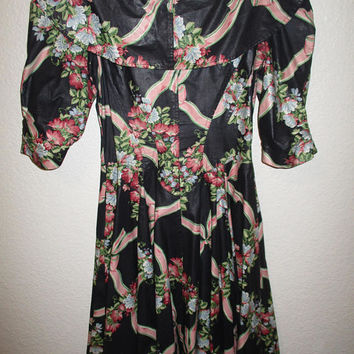 Vintage Black and Pink Floral Print Chintz Party Dress Bow Collar Circle Skirt