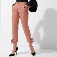 Pink bow hem cigarette pants - Cigarette Pants - Pants - women