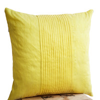 Throw pillows in yellow art silk - Attractive cushion in rippled pin tuck pattern - Decorative pillows for sofa - Couch pillow - Gift 18x18