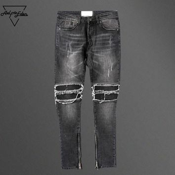 Black Destroyed Jeans Casual Pants