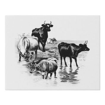 Vintage Cows Farm Animals Illustration Art Faux Canvas Print